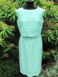 1960's Aquamarine Broiderie Anglaise vintage dress Carnegie of London **SOLD**
